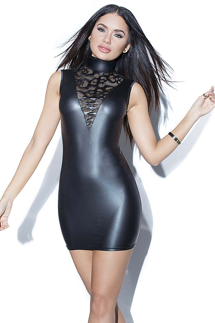 Coquette Darque Wetlook Party Kleid in Schwarz Matt - easyfunshop