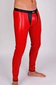 Robinson Herren Leggings Meggings Leder Optik Rot-Schwarz