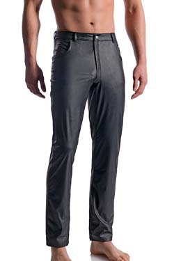 MANSTORE Black Jeans M104, Leder Optik